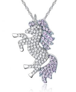 Unicorn Crystal Pink Pendant Shaped