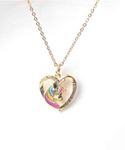 Unicorn Heart Pendant Gold