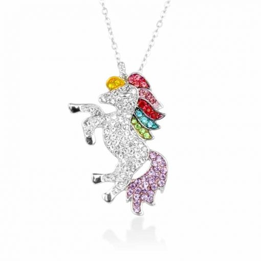 Unicorn Rainbow Crystal Necklace Planet Kols