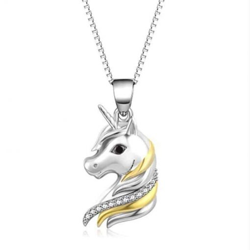 Unicorn Pendant Sterling Silver And Gold