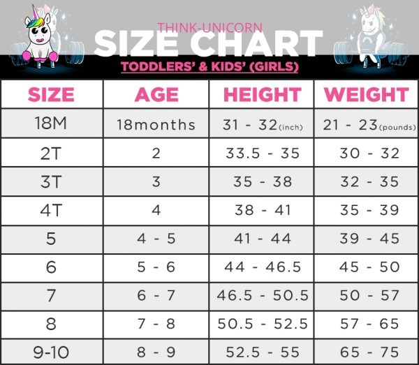 TODDLERS' & KIDS' (GIRLS) Size Chart