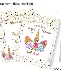 Unicorn Birthday Invitation Cards