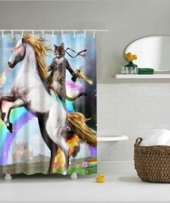 Unicorn Shower Curtain Cat On Unicorn