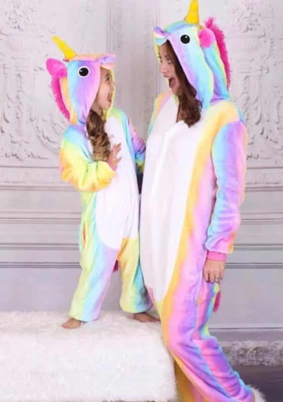 girl and mother unicorn pajamas