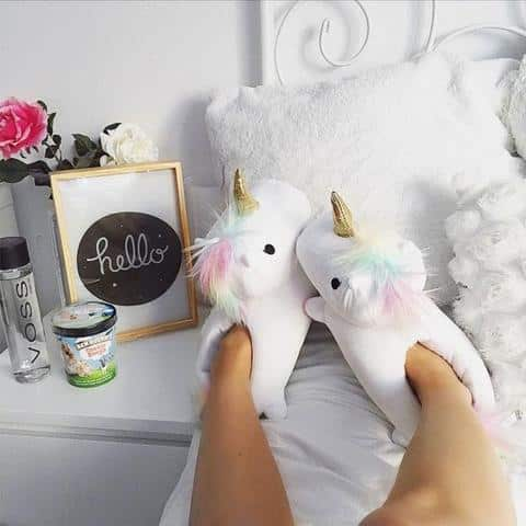 Womens Wearing Unicorn Slippers
