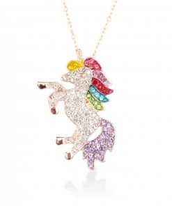 Unicorn Crystal Necklace Rainbow Planet Kols