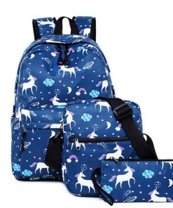 Unicorn Backpack Blue Navy