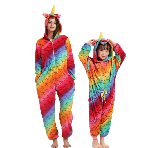 Unicorn Pajamas Rainbow Striped
