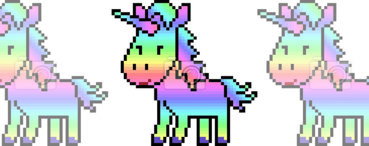 Pixel Art Rainbow Unicorn