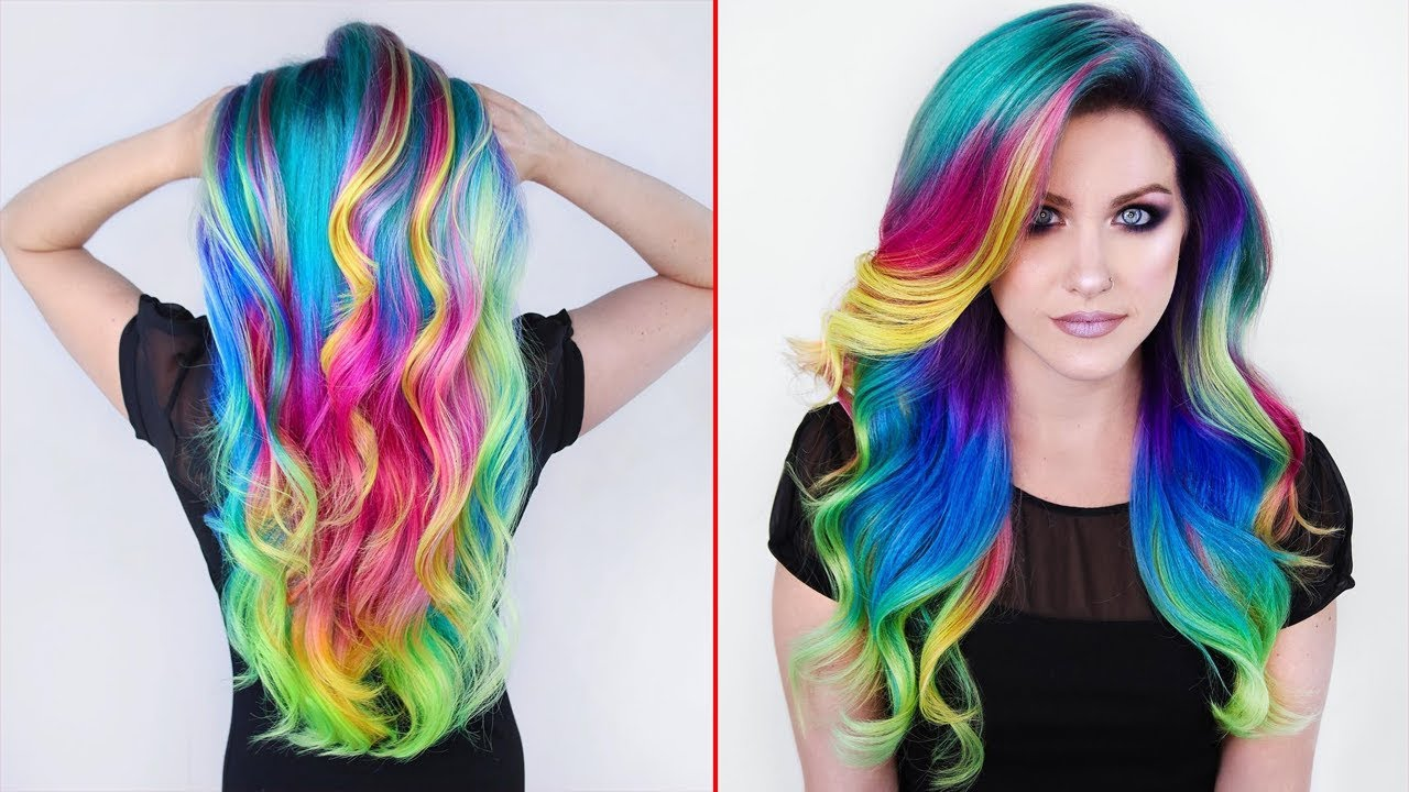 Beautiful Girl In Rainbow Hair
