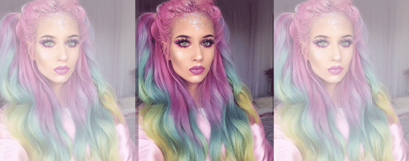 Unicorn Make Up Rainbow Hair