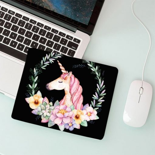 Unicorn Mouse Pad Flowers