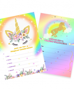 Unicorn Birthday Invitationcard Template