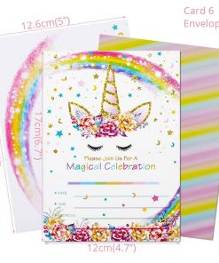 Unicorn Birthday Invitation Rainbow Template