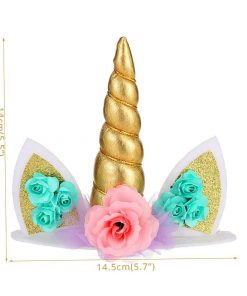 Unicorn Cake Topper Gold Horn