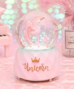 Unicorn Snow Globe Pink