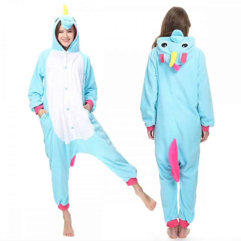 Girl In Blue Unicorn Pajamas