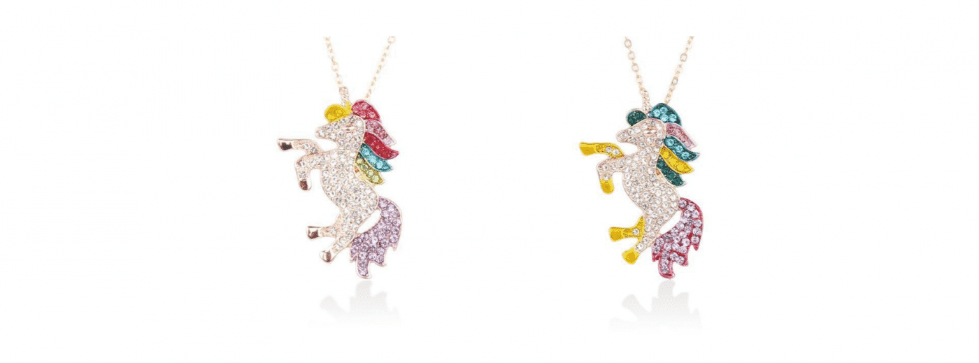 Gold And Crystal Unicorn Necklace