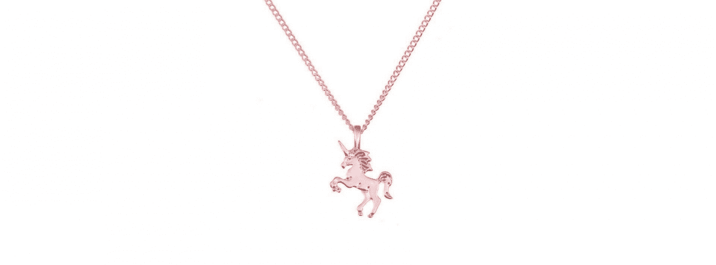 Pink Gold Unicorn Necklace