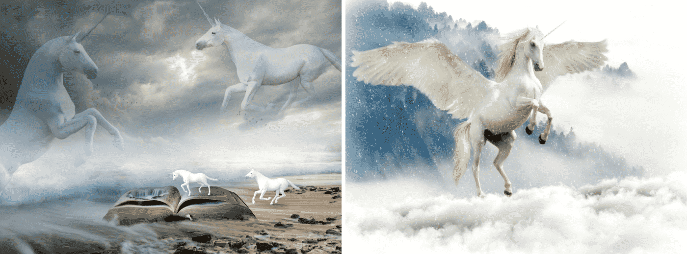 White Unicorn Is Flying On The Sky