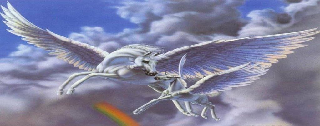 White Unicorn With Wings And Baby Unicorn