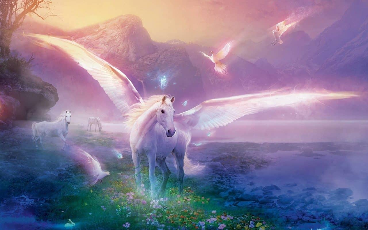White Unicorn With Wings In The Pray
