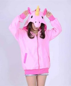 Unicorn Hoodie Girls Zip Up