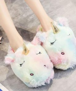 Unicorn Slippers Childrens Rainbow