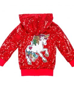 Unicorn Hoodie Red Sequin