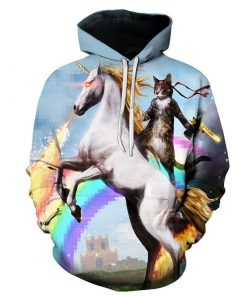Unicorn Hoodie Cat Riding