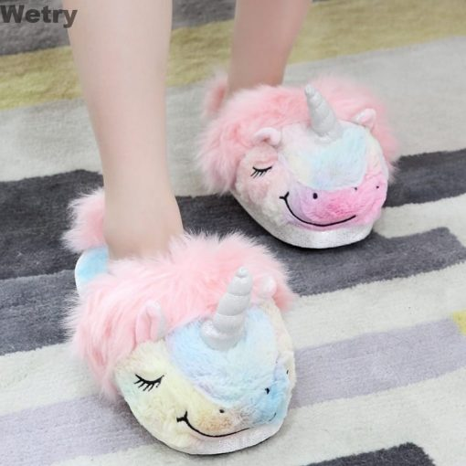 Unicorn Slippers Pink Fluffy