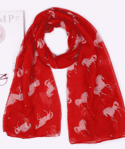 Unicorn Scarf Red Womens