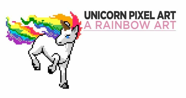 Pixel Art Unicorn Rainbow