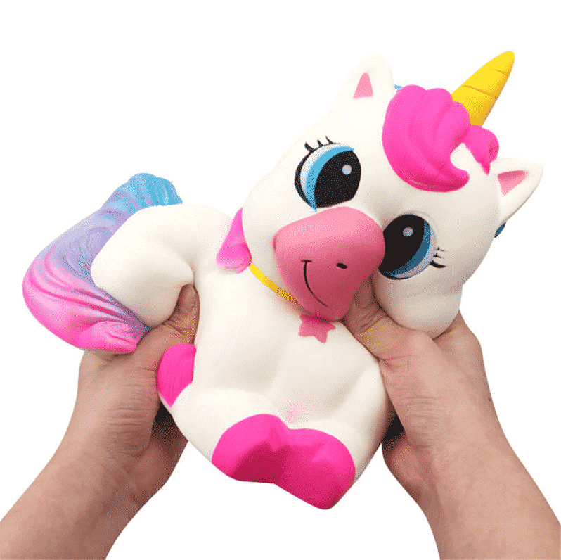 Squeezing A Unicorn Toy To Reduce Stress