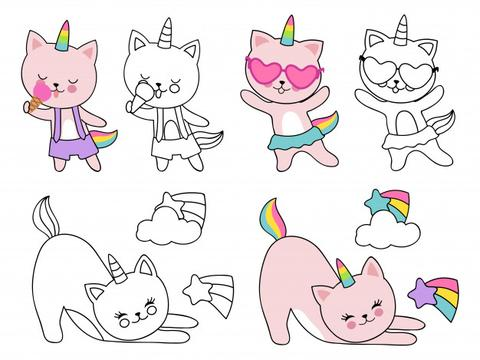 Before After Caticorn Coloring