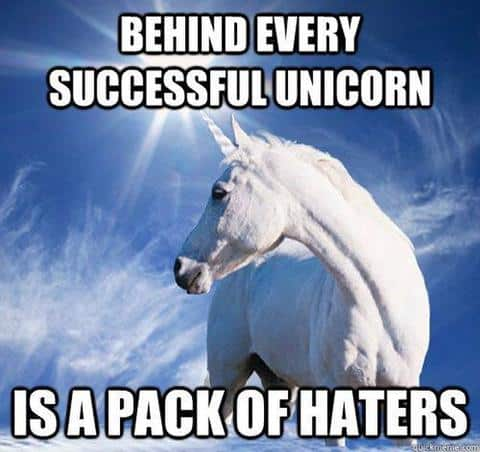 behind every successfull unicorn is a pack of haters