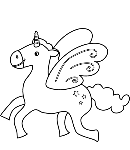 Kawaii Unicorn With Wings Coloring