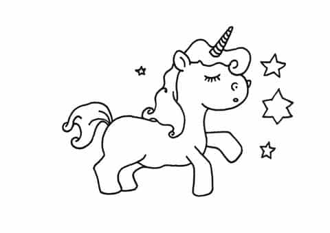 Little Unicorn With Stars Coloring