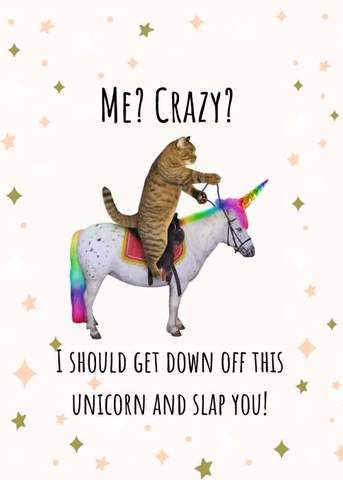 me crazy i should get down of this unicorn and slap you