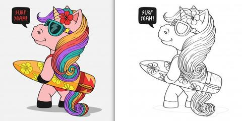 Surf Unicorn Coloring
