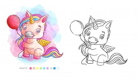 Unicorn Coloring Before After
