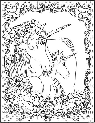 Unicorn Mom And Children Coloring