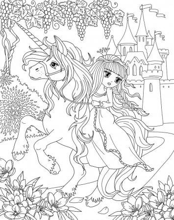 Unicorn Queen And Castle Coloring