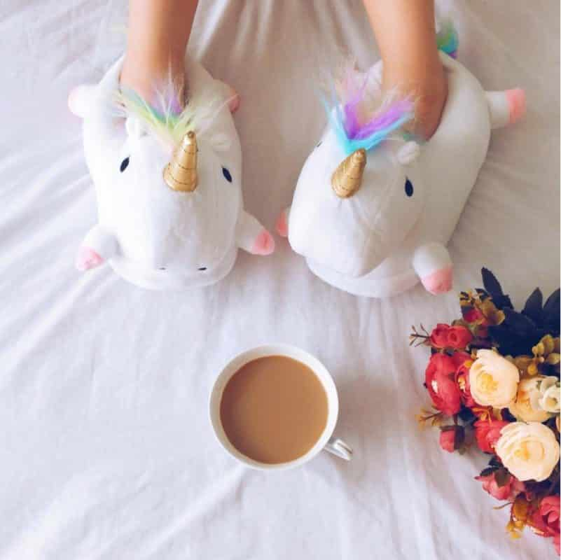 Warm Unicorn Slippers With A Cup Of Coffee