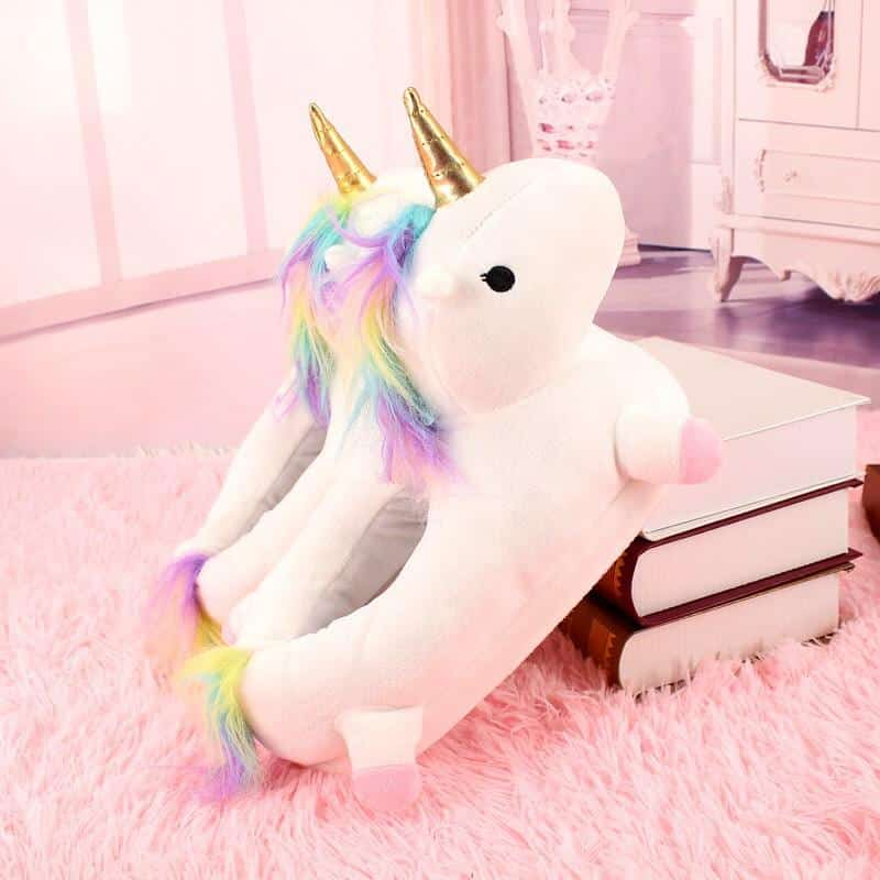 Warm Unicorn Slippers With A Rainbow Mane