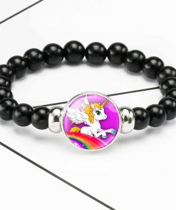 Unicorn Bracelet Black Beads