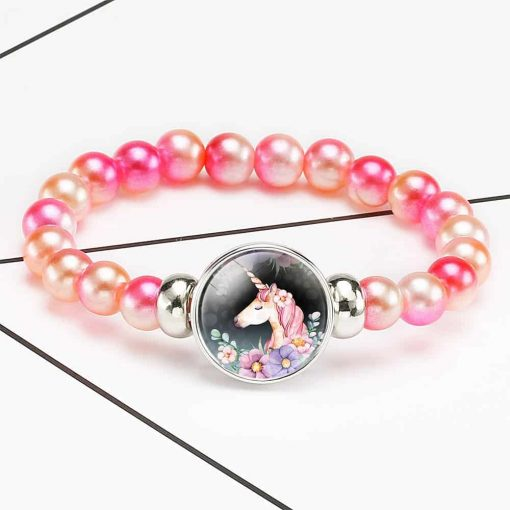 Unicorn Bracelet Orange Beads