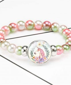 Unicorn Bracelet Green And Pink Beads