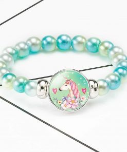 Unicorn Bracelet Blue And White Beads