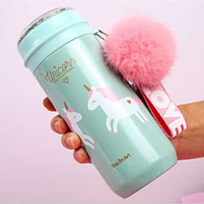 Unicorn Water Bottle Green Steel